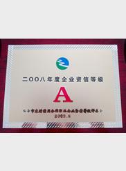 2008年度企业资信等级A级证
