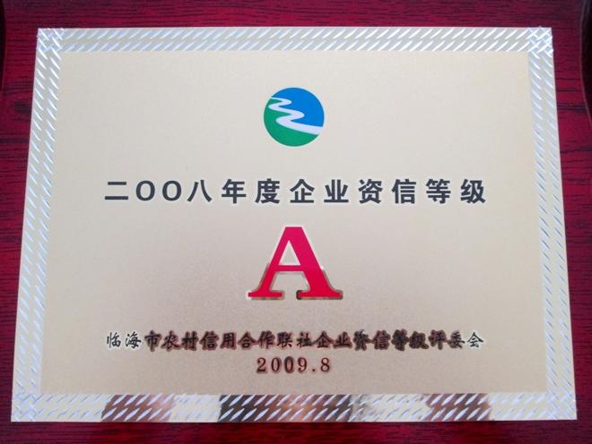 2008年度企业资信等级A级证书